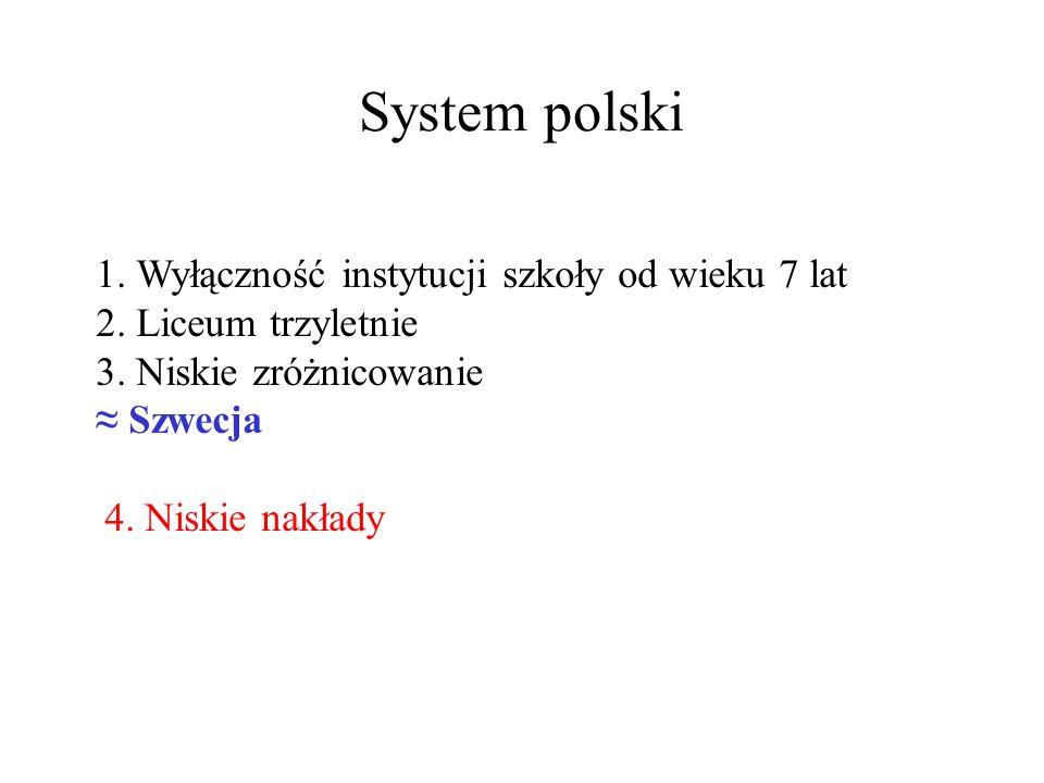 System polski 1.Wyłączność instytucji szkoły od wieku 7 lat 2.