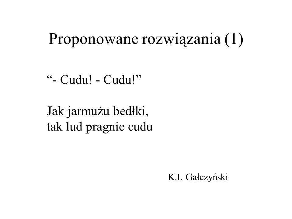 Proponowane rozwiązania (1) - Cudu! Jak jarmużu bedłki, tak lud pragnie cudu K.I. Gałczyński