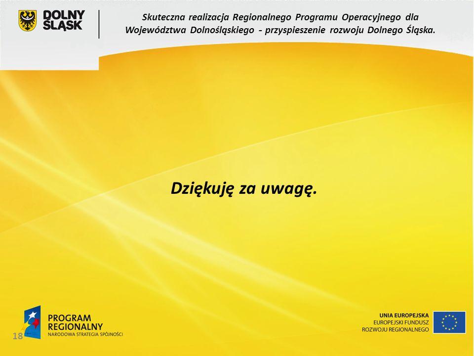 18 Dziękuję za uwagę. Skuteczna realizacja Regionalnego Programu Operacyjnego dla Województwa Dolnośląskiego - przyspieszenie rozwoju Dolnego Śląska.