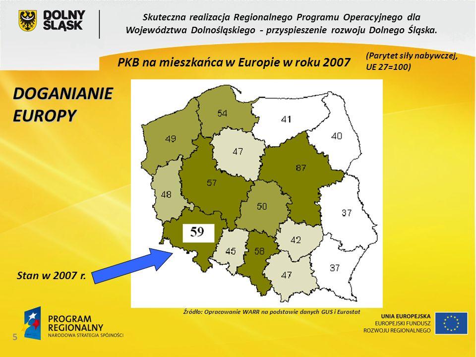 5 Źródło: Opracowanie WARR na podstawie danych GUS i Eurostat PKB na mieszkańca w Europie w roku 2007 DOGANIANIE EUROPY (Parytet siły nabywczej, UE 27