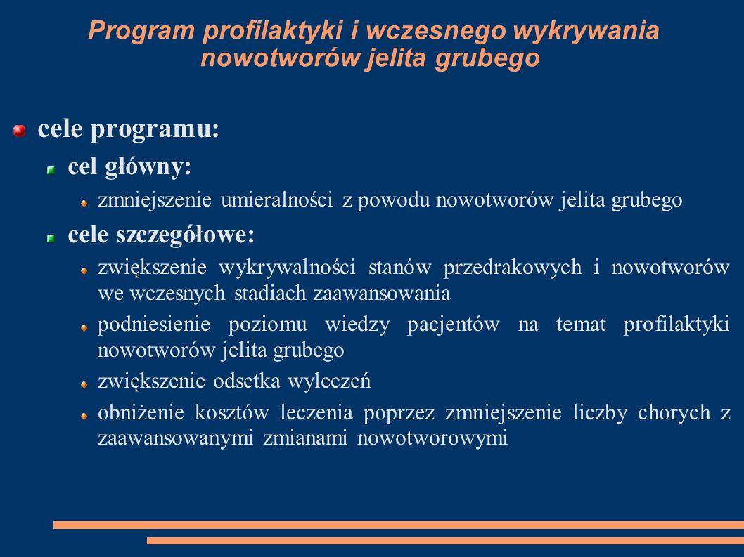 Program profilaktyki i wczesnego wykrywania nowotworów jelita grubego cele programu: cel główny: zmniejszenie umieralności z powodu nowotworów jelita