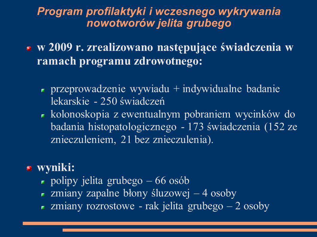 Program profilaktyki i wczesnego wykrywania nowotworów jelita grubego w 2009 r. zrealizowano następujące świadczenia w ramach programu zdrowotnego: pr
