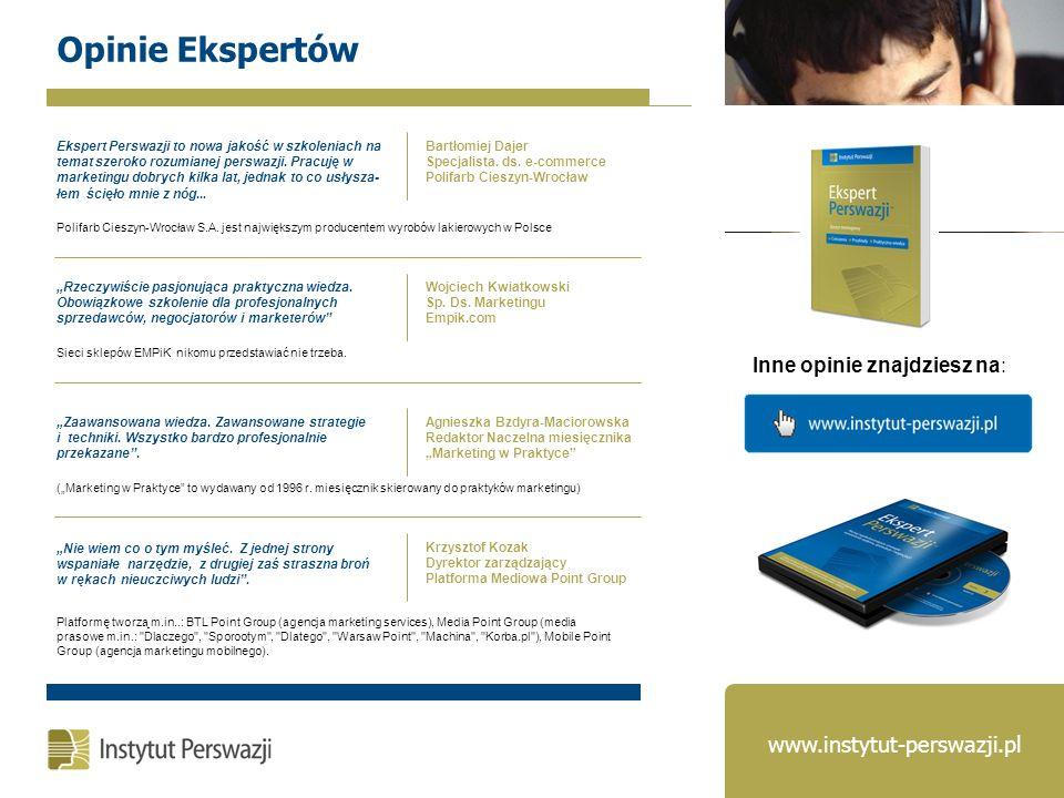Opinie Ekspertów Inne opinie znajdziesz na: Ekspert Perswazji to nowa jakość w szkoleniach na temat szeroko rozumianej perswazji. Pracuję w marketingu
