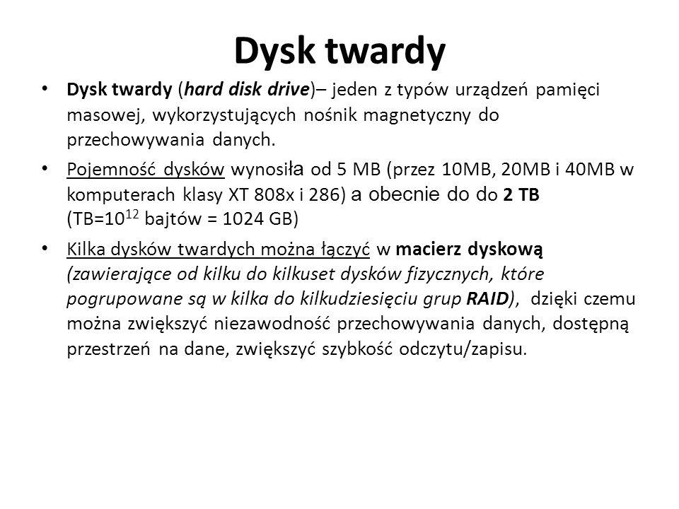 Dysk twardy Dysk twardy (hard disk drive)– jeden z typów urządzeń pamięci masowej, wykorzystujących nośnik magnetyczny do przechowywania danych.