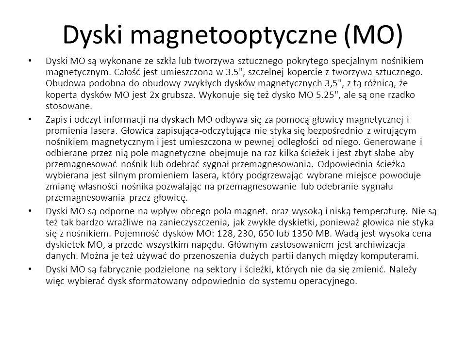 Dyski magnetooptyczne (MO) Dyski MO są wykonane ze szkła lub tworzywa sztucznego pokrytego specjalnym nośnikiem magnetycznym.