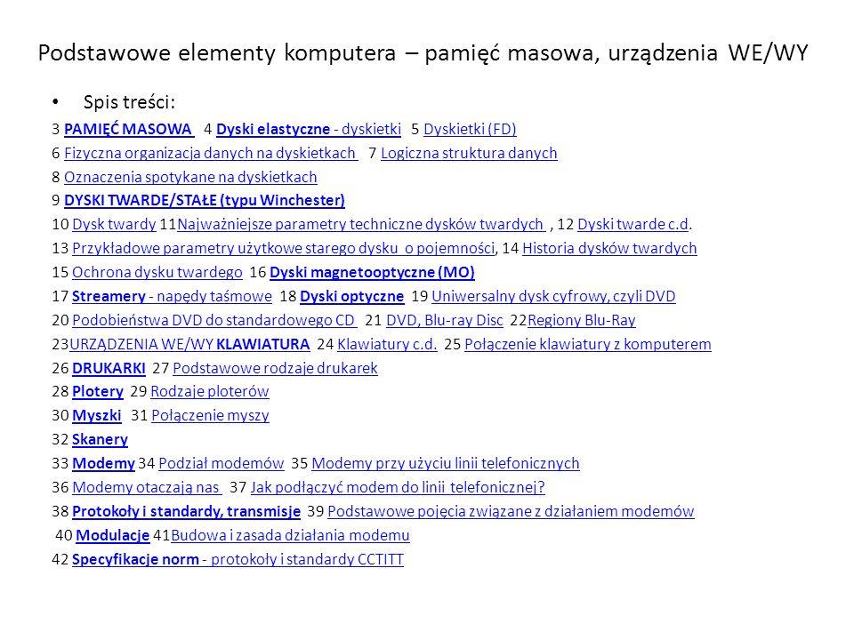 Podstawowe elementy komputera – pamięć masowa, urządzenia WE/WY Spis treści: 3 PAMIĘĆ MASOWA 4 Dyski elastyczne - dyskietki 5 Dyskietki (FD)PAMIĘĆ MASOWA Dyski elastyczne - dyskietkiDyskietki (FD) 6 Fizyczna organizacja danych na dyskietkach 7 Logiczna struktura danychFizyczna organizacja danych na dyskietkach Logiczna struktura danych 8 Oznaczenia spotykane na dyskietkachOznaczenia spotykane na dyskietkach 9 DYSKI TWARDE/STAŁE (typu Winchester)DYSKI TWARDE/STAŁE (typu Winchester) 10 Dysk twardy 11Najważniejsze parametry techniczne dysków twardych, 12 Dyski twarde c.d.Dysk twardyNajważniejsze parametry techniczne dysków twardych Dyski twarde c.d 13 Przykładowe parametry użytkowe starego dysku o pojemności, 14 Historia dysków twardychPrzykładowe parametry użytkowe starego dysku o pojemnościHistoria dysków twardych 15 Ochrona dysku twardego 16 Dyski magnetooptyczne (MO)Ochrona dysku twardegoDyski magnetooptyczne (MO) 17 Streamery - napędy taśmowe 18 Dyski optyczne 19 Uniwersalny dysk cyfrowy, czyli DVDStreamery - napędy taśmoweDyski optyczneUniwersalny dysk cyfrowy, czyli DVD 20 Podobieństwa DVD do standardowego CD 21 DVD, Blu-ray Disc 22Regiony Blu-RayPodobieństwa DVD do standardowego CD DVD, Blu-ray DiscRegiony Blu-Ray 23URZĄDZENIA WE/WY KLAWIATURA 24 Klawiatury c.d.