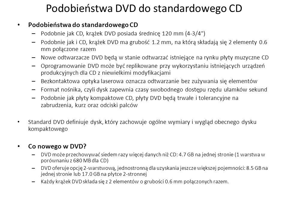 Podobieństwa DVD do standardowego CD Podobieństwa do standardowego CD – Podobnie jak CD, krążek DVD posiada średnicę 120 mm (4-3/4 ) – Podobnie jak i CD, krążek DVD ma grubość 1.2 mm, na którą składają się 2 elementy 0.6 mm połączone razem – Nowe odtwarzacze DVD będą w stanie odtwarzać istniejące na rynku płyty muzyczne CD – Oprogramowanie DVD może być replikowane przy wykorzystaniu istniejących urządzeń produkcyjnych dla CD z niewielkimi modyfikacjami – Bezkontaktowa optyka laserowa oznacza odtwarzanie bez zużywania się elementów – Format nośnika, czyli dysk zapewnia czasy swobodnego dostępu rzędu ułamków sekund – Podobnie jak płyty kompaktowe CD, płyty DVD będą trwałe i tolerancyjne na zabrudzenia, kurz oraz odciski palców Standard DVD definiuje dysk, który zachowuje ogólne wymiary i wygląd obecnego dysku kompaktowego Co nowego w DVD.