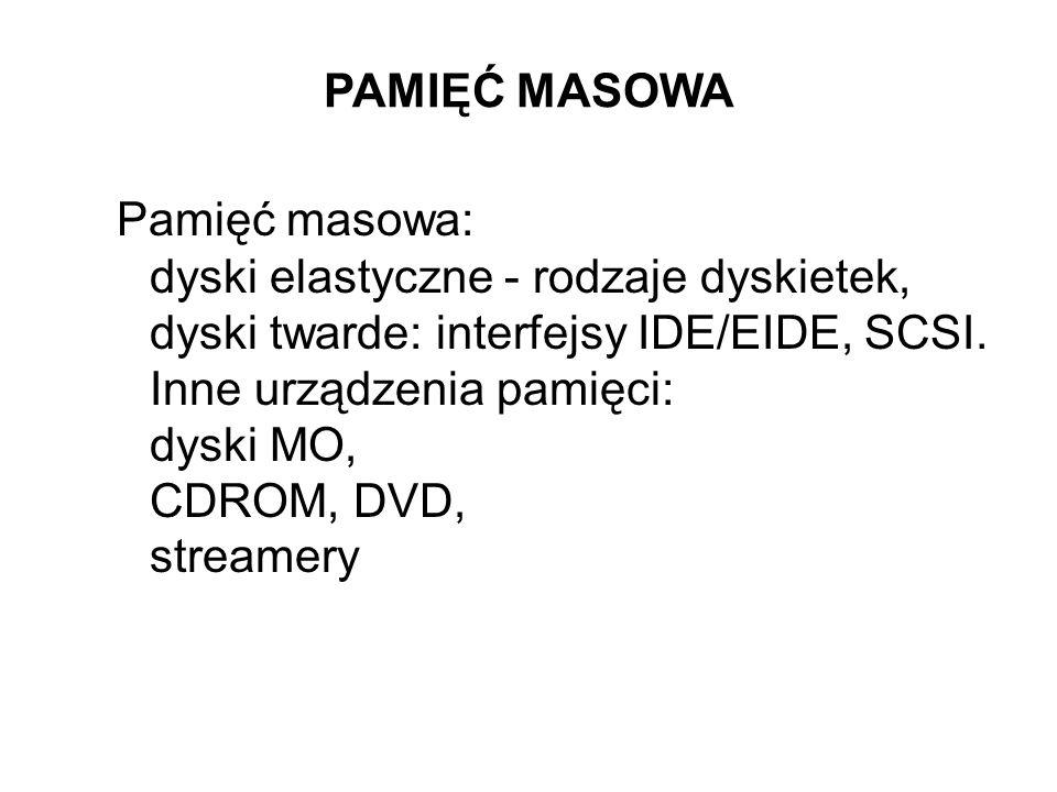 PAMIĘĆ MASOWA Pamięć masowa: dyski elastyczne - rodzaje dyskietek, dyski twarde: interfejsy IDE/EIDE, SCSI.