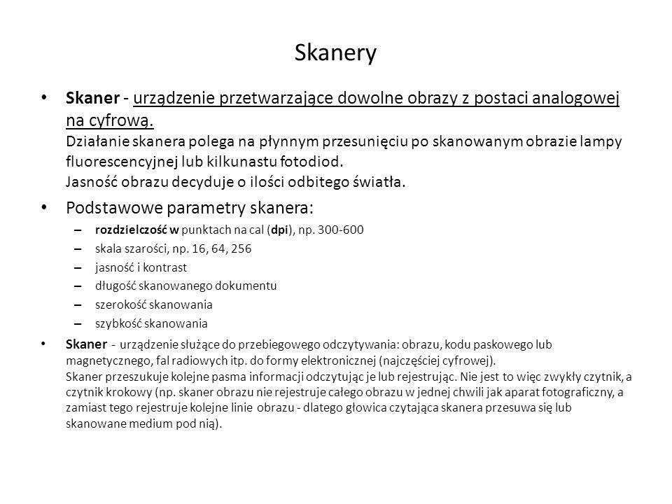 Skanery Skaner - urządzenie przetwarzające dowolne obrazy z postaci analogowej na cyfrową.