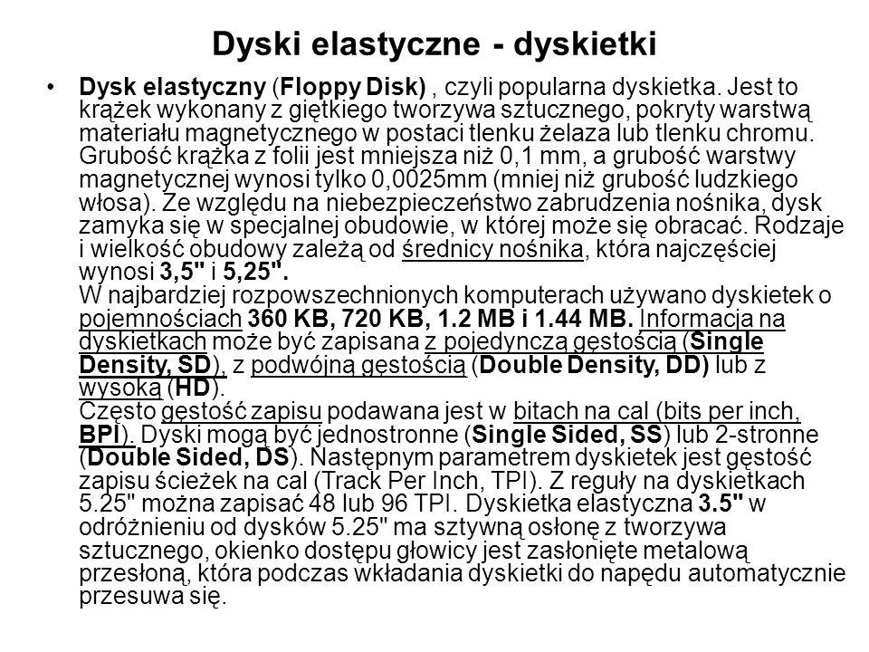 Dyski elastyczne - dyskietki Dysk elastyczny (Floppy Disk), czyli popularna dyskietka.