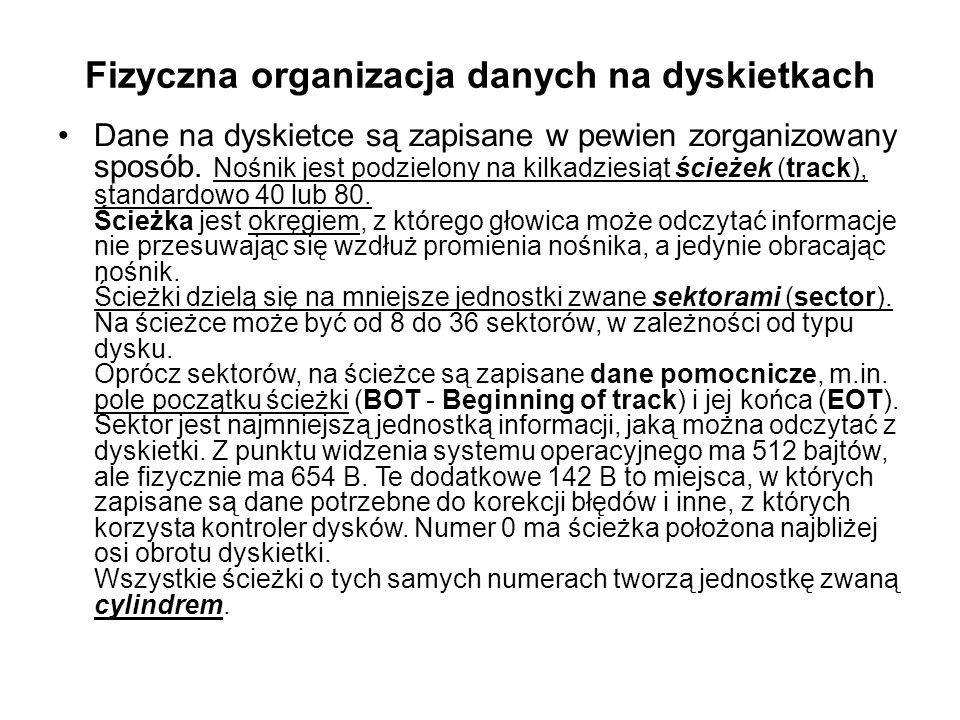 Fizyczna organizacja danych na dyskietkach Dane na dyskietce są zapisane w pewien zorganizowany sposób.