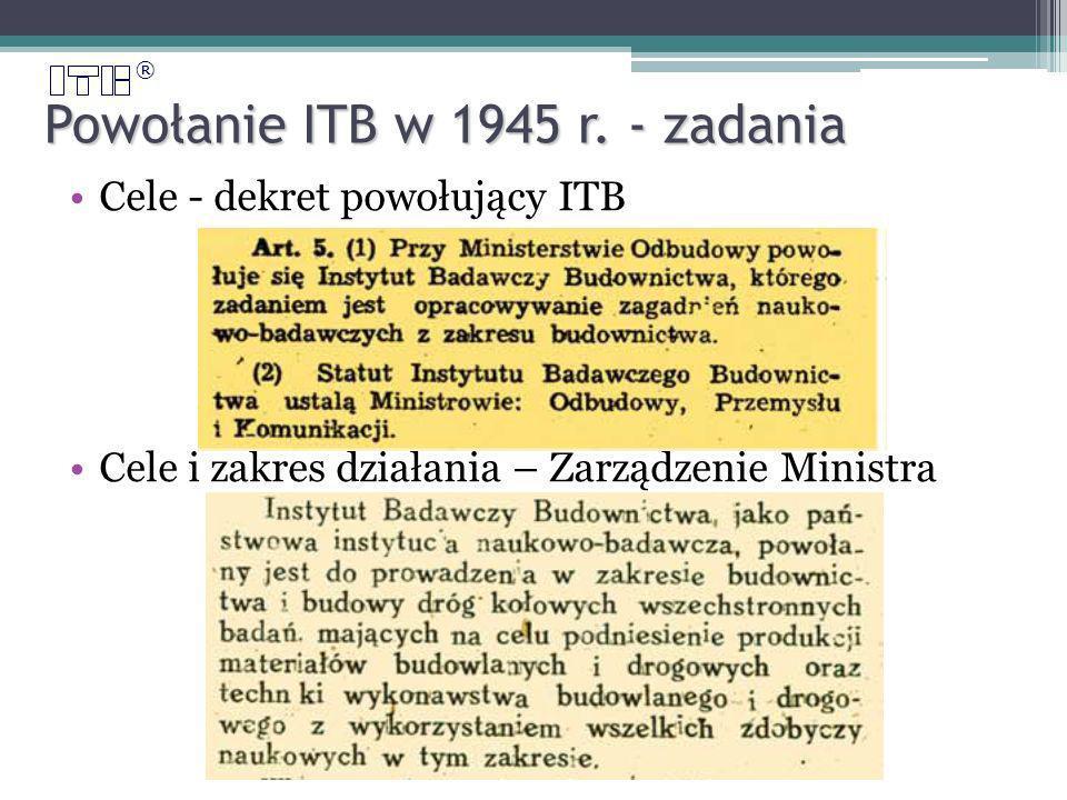 ® Powołanie ITB w 1945 r.