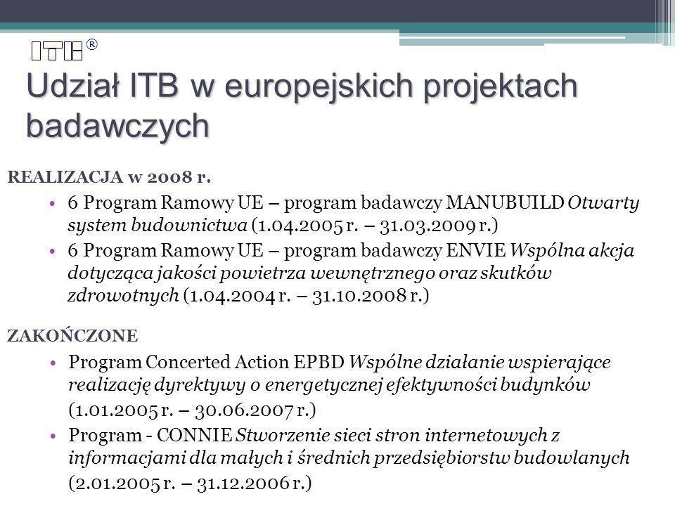 ® Udział ITB w europejskich projektach badawczych 6 Program Ramowy UE – program badawczy MANUBUILD Otwarty system budownictwa (1.04.2005 r.