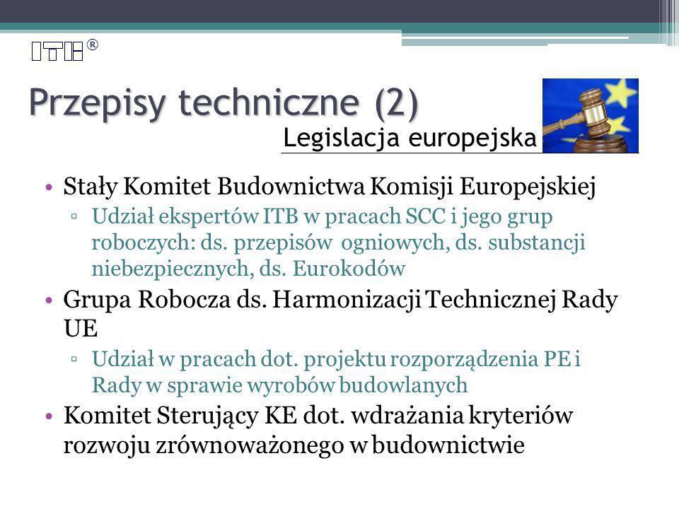 ® Przepisy techniczne (2) Stały Komitet Budownictwa Komisji Europejskiej Udział ekspertów ITB w pracach SCC i jego grup roboczych: ds.