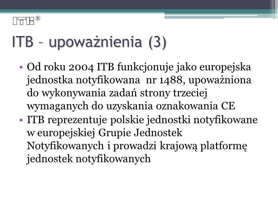 ® ITB – upoważnienia (3) Od roku 2004 ITB funkcjonuje jako europejska jednostka notyfikowana nr 1488, upoważniona do wykonywania zadań strony trzeciej wymaganych do uzyskania oznakowania CE ITB reprezentuje polskie jednostki notyfikowane w europejskiej Grupie Jednostek Notyfikowanych i prowadzi krajową platformę jednostek notyfikowanych