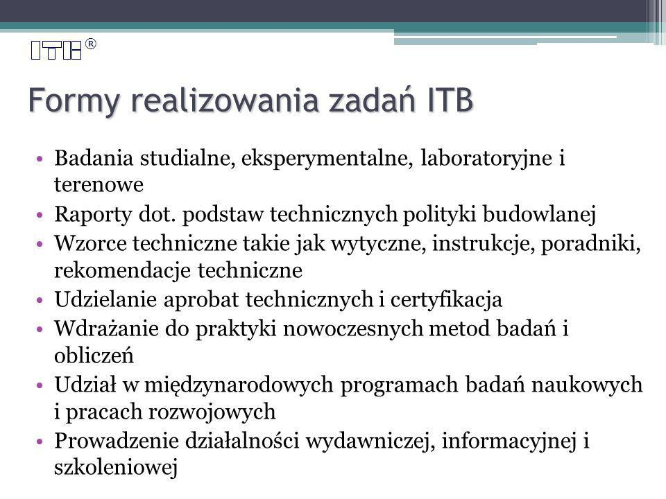® Formy realizowania zadań ITB Badania studialne, eksperymentalne, laboratoryjne i terenowe Raporty dot.