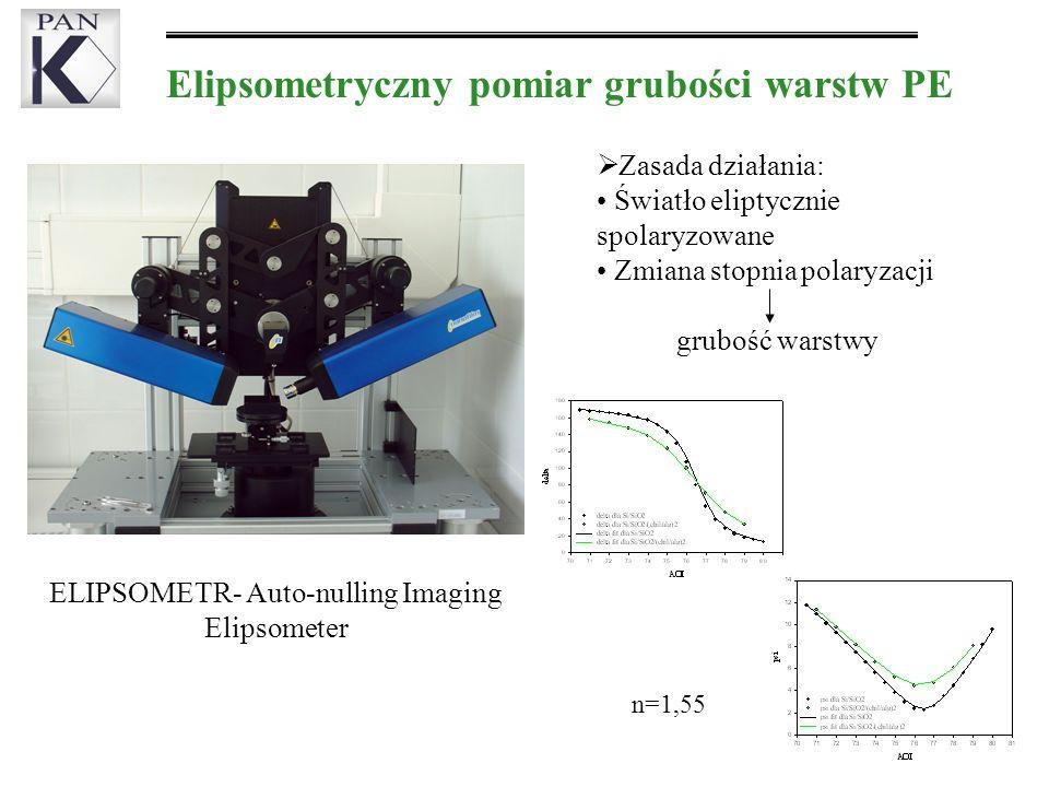 ELIPSOMETR- Auto-nulling Imaging Elipsometer Elipsometryczny pomiar grubości warstw PE Zasada działania: Światło eliptycznie spolaryzowane Zmiana stopnia polaryzacji grubość warstwy n=1,55