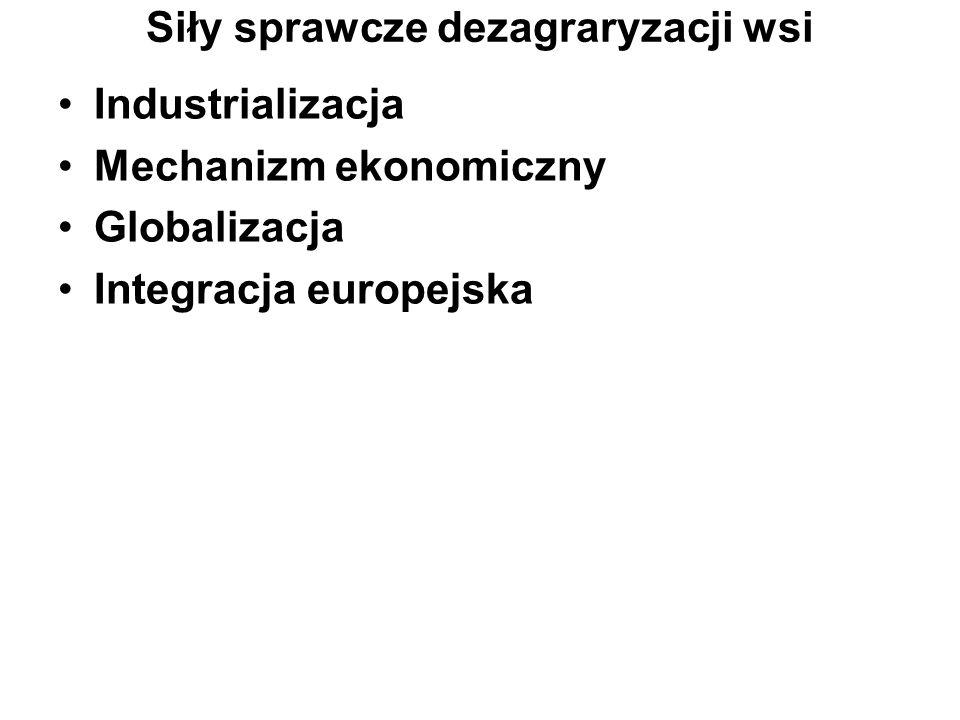 Siły sprawcze dezagraryzacji wsi Industrializacja Mechanizm ekonomiczny Globalizacja Integracja europejska