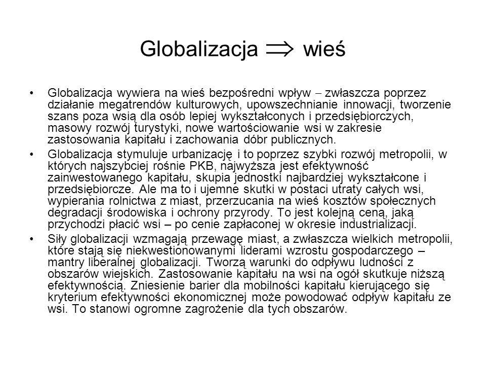 Globalizacja wieś Globalizacja wywiera na wieś bezpośredni wpływ zwłaszcza poprzez działanie megatrendów kulturowych, upowszechnianie innowacji, tworz