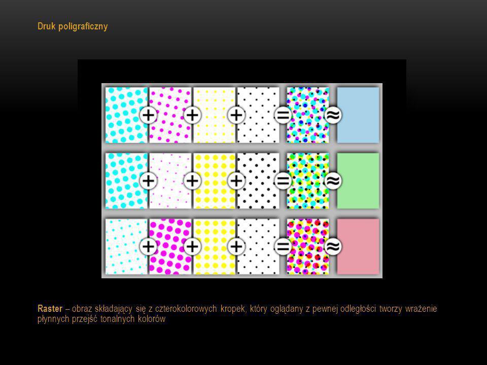 Druk poligraficzny Raster – obraz składający się z czterokolorowych kropek, który oglądany z pewnej odległości tworzy wrażenie płynnych przejść tonaln