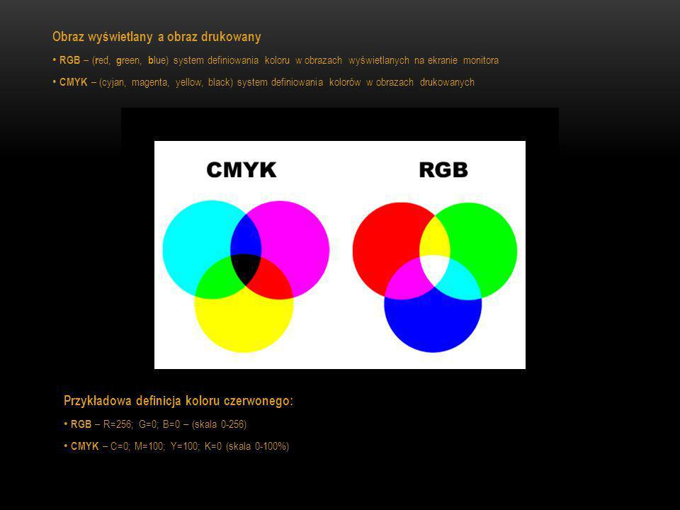 Obraz wyświetlany a obraz drukowany RGB – ( r ed, g reen, b lue) system definiowania koloru w obrazach wyświetlanych na ekranie monitora CMYK – (cyjan