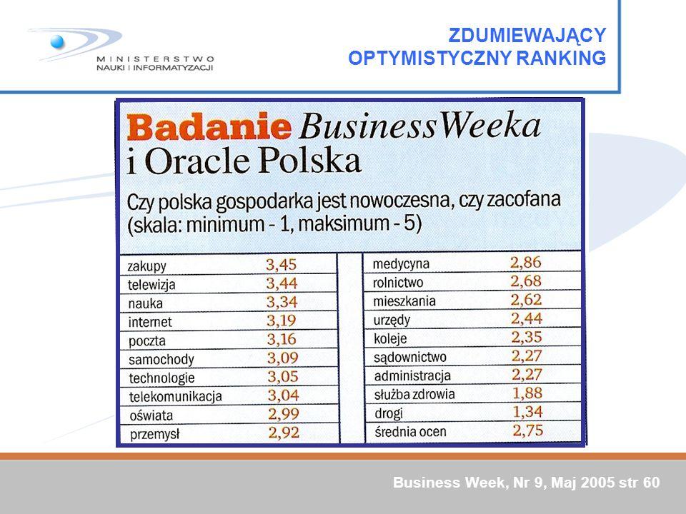 ZDUMIEWAJĄCY OPTYMISTYCZNY RANKING Business Week, Nr 9, Maj 2005 str 60