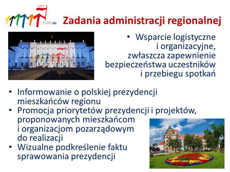 Zadania administracji regionalnej Wsparcie logistyczne i organizacyjne, zwłaszcza zapewnienie bezpieczeństwa uczestników i przebiegu spotkań Informowanie o polskiej prezydencji mieszkańców regionu Promocja priorytetów prezydencji i projektów, proponowanych mieszkańcom i organizacjom pozarządowym do realizacji Wizualne podkreślenie faktu sprawowania prezydencji 12