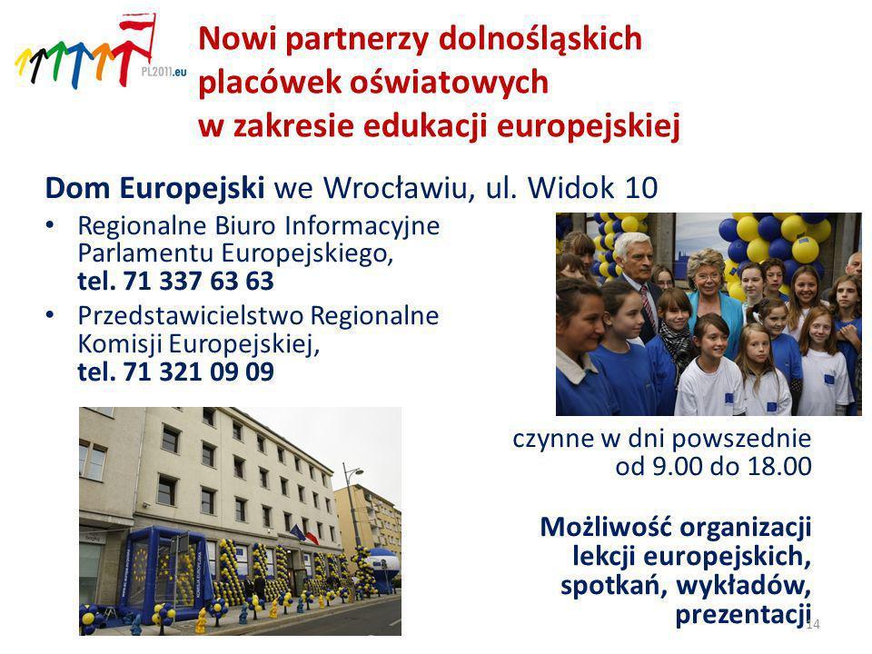 Nowi partnerzy dolnośląskich placówek oświatowych w zakresie edukacji europejskiej Dom Europejski we Wrocławiu, ul.
