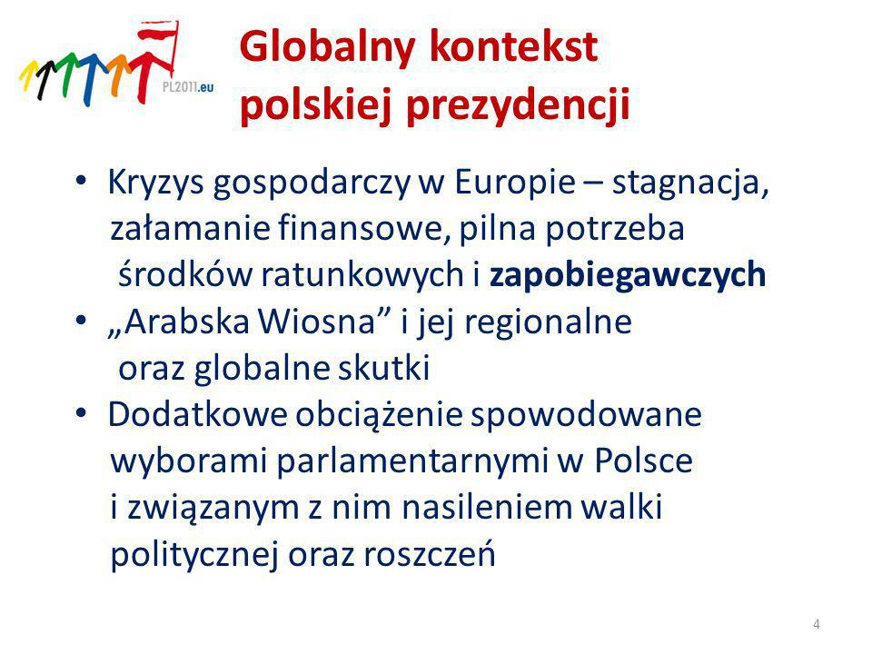 Globalny kontekst polskiej prezydencji Kryzys gospodarczy w Europie – stagnacja, załamanie finansowe, pilna potrzeba środków ratunkowych i zapobiegawczych Arabska Wiosna i jej regionalne oraz globalne skutki Dodatkowe obciążenie spowodowane wyborami parlamentarnymi w Polsce i związanym z nim nasileniem walki politycznej oraz roszczeń 4