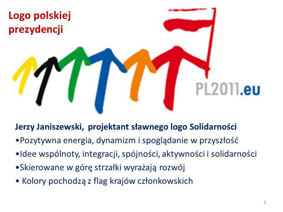Logo polskiej prezydencji Jerzy Janiszewski, projektant sławnego logo Solidarności Pozytywna energia, dynamizm i spoglądanie w przyszłość Idee wspólnoty, integracji, spójności, aktywności i solidarności Skierowane w górę strzałki wyrażają rozwój Kolory pochodzą z flag krajów członkowskich 6