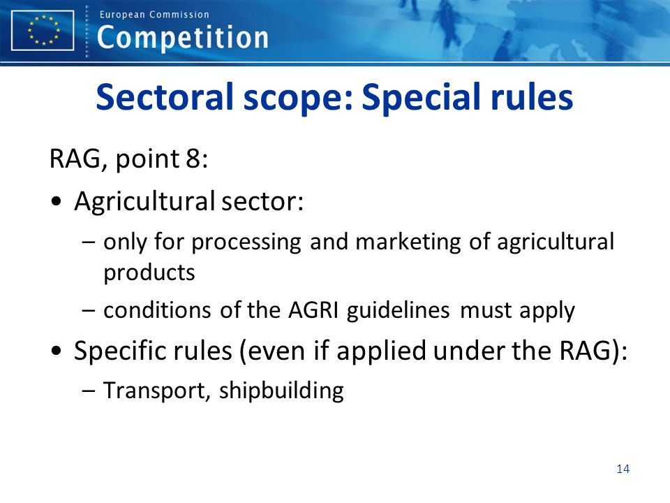 Sectoral scope: Special rules RAG, point 8: Agricultural sector: –only for processing and marketing of agricultural products –conditions of the AGRI guidelines must apply Specific rules (even if applied under the RAG): –Transport, shipbuilding 14