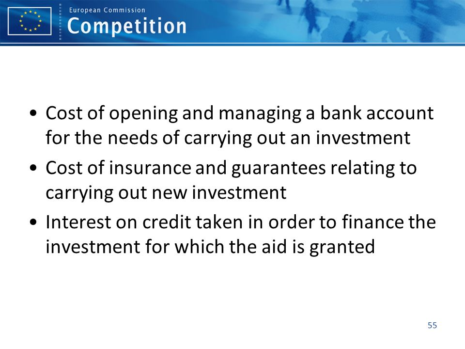 Cost of opening and managing a bank account for the needs of carrying out an investment Cost of insurance and guarantees relating to carrying out new