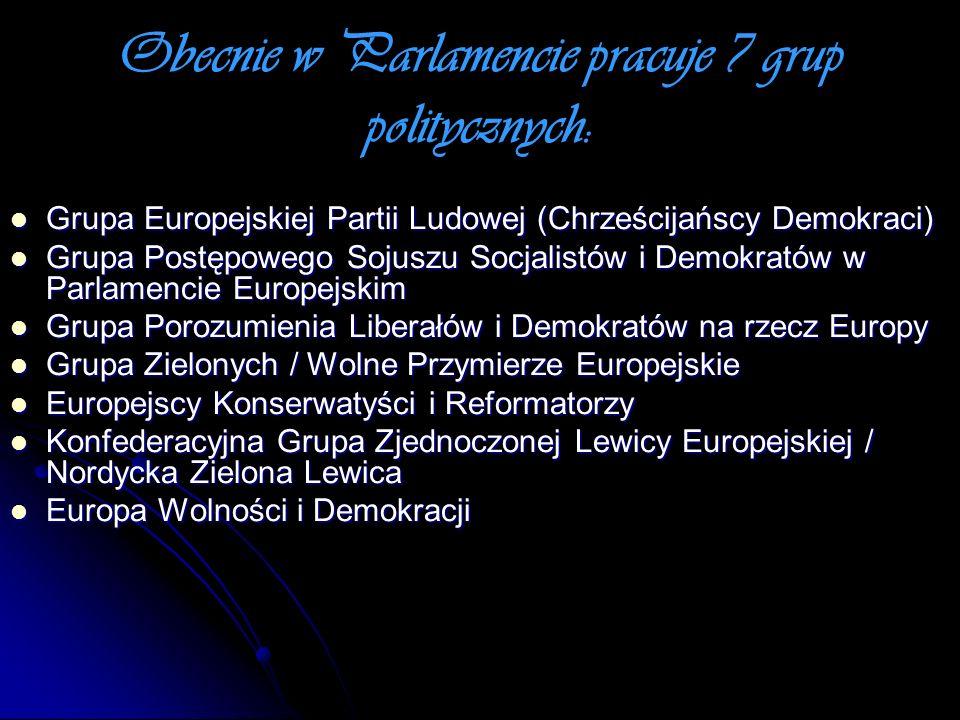 Obecnie w Parlamencie pracuje 7 grup politycznych: Grupa Europejskiej Partii Ludowej (Chrześcijańscy Demokraci) Grupa Europejskiej Partii Ludowej (Chr