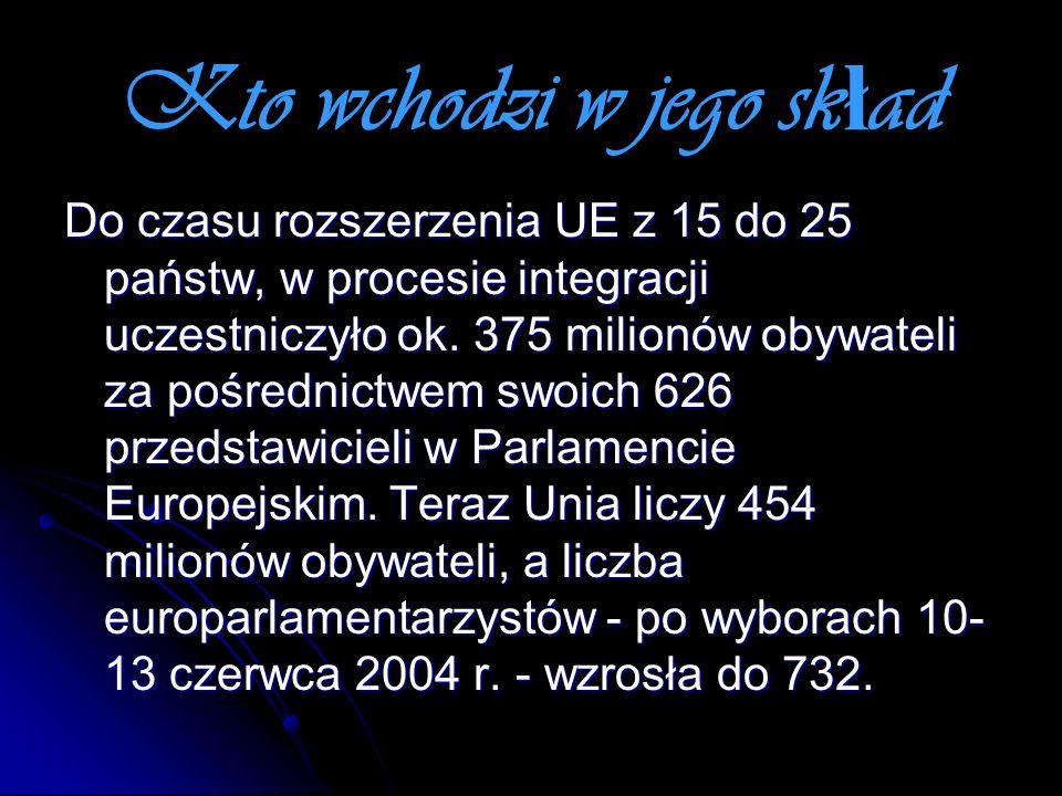 Kto wchodzi w jego sk ł ad Do czasu rozszerzenia UE z 15 do 25 państw, w procesie integracji uczestniczyło ok. 375 milionów obywateli za pośrednictwem