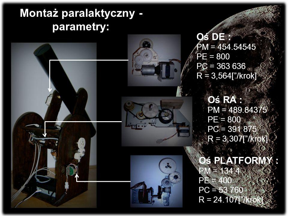 Montaż paralaktyczny - parametry: Oś RA : PM = 489.84375 PE = 800 PC = 391 875 R = 3,307[/krok] Oś DE : PM = 454.54545 PE = 800 PC = 363 636 R = 3,564