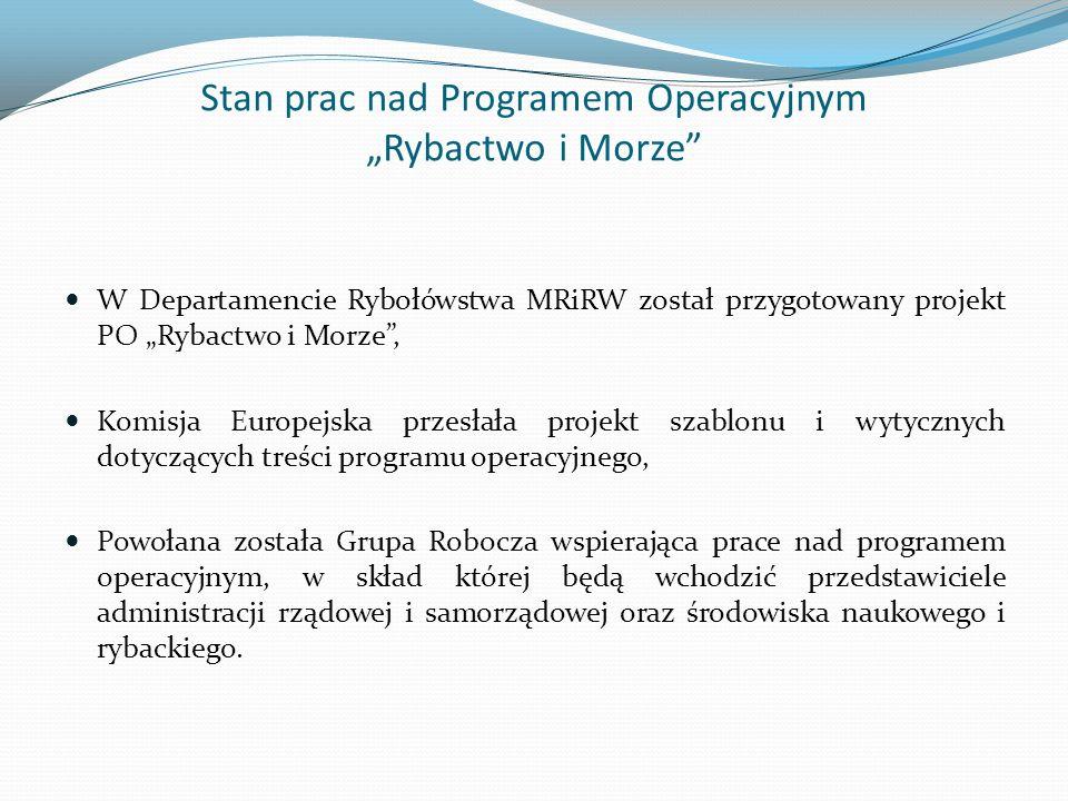 Stan prac nad Programem Operacyjnym Rybactwo i Morze W Departamencie Rybołówstwa MRiRW został przygotowany projekt PO Rybactwo i Morze, Komisja Europe
