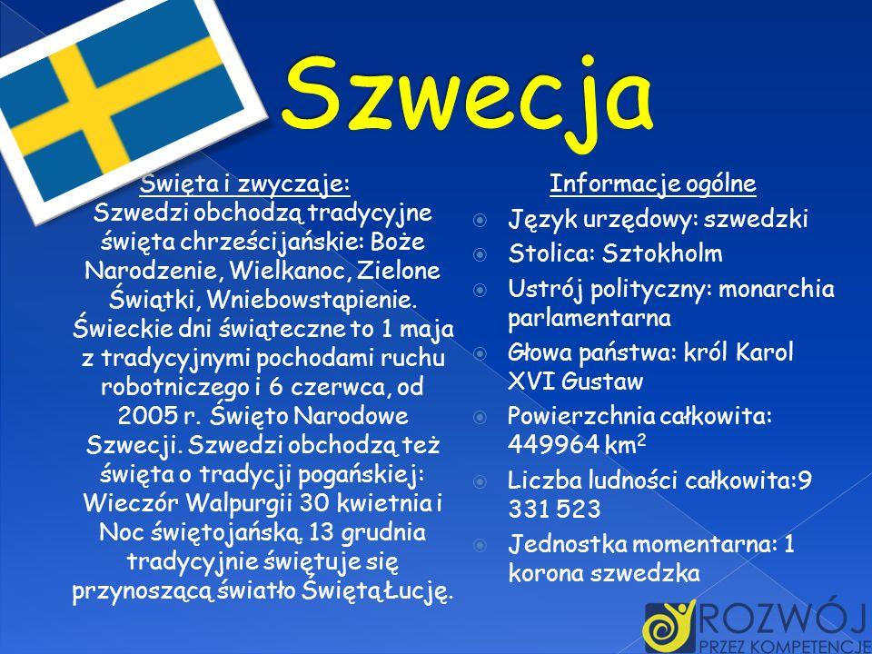 Święta i zwyczaje: Szwedzi obchodzą tradycyjne święta chrześcijańskie: Boże Narodzenie, Wielkanoc, Zielone Świątki, Wniebowstąpienie. Świeckie dni świ