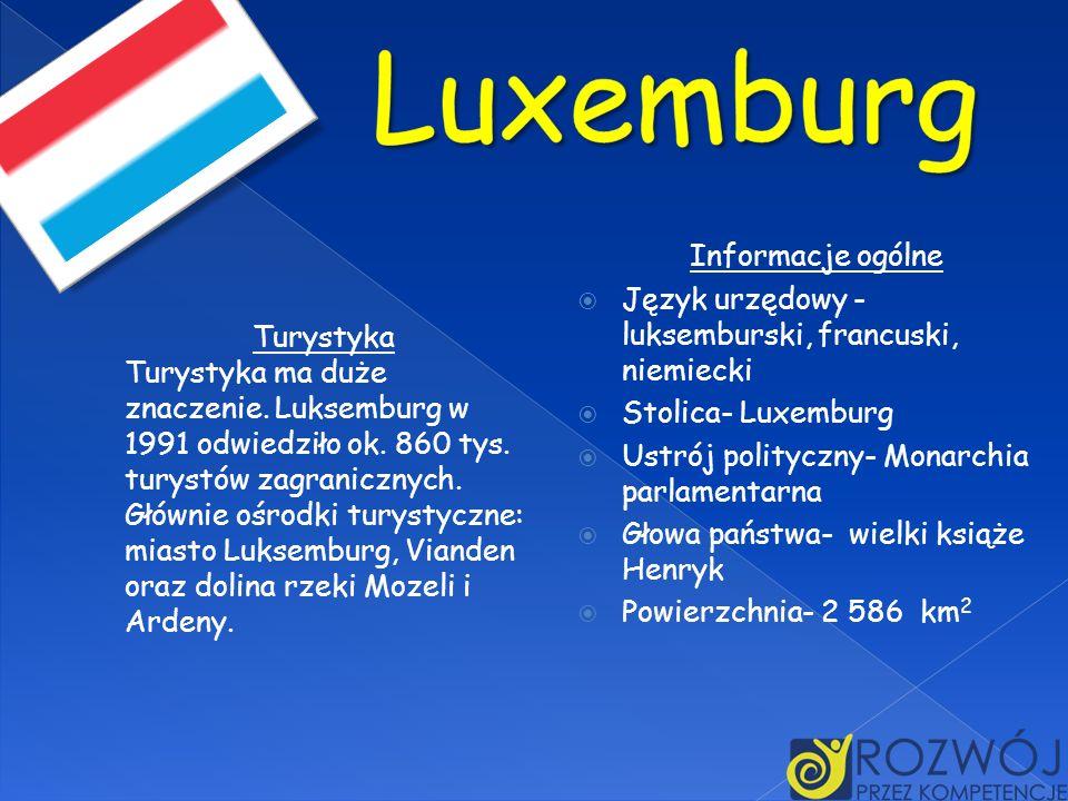 Informacje ogólne Język urzędowy - luksemburski, francuski, niemiecki Stolica- Luxemburg Ustrój polityczny- Monarchia parlamentarna Głowa państwa- wie