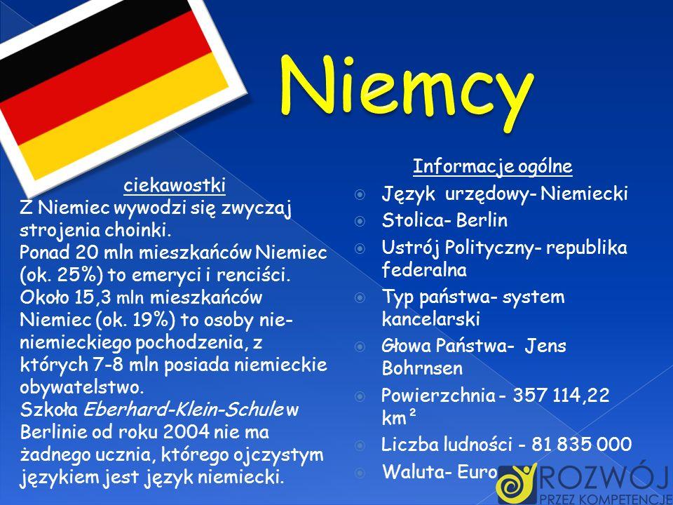 Informacje ogólne Język urzędowy- Niemiecki Stolica- Berlin Ustrój Polityczny- republika federalna Typ państwa- system kancelarski Głowa Państwa- Jens