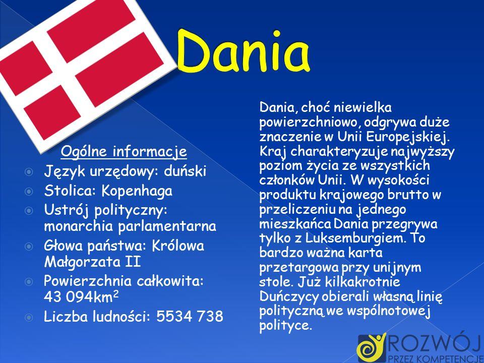 Dania, choć niewielka powierzchniowo, odgrywa duże znaczenie w Unii Europejskiej. Kraj charakteryzuje najwyższy poziom życia ze wszystkich członków Un