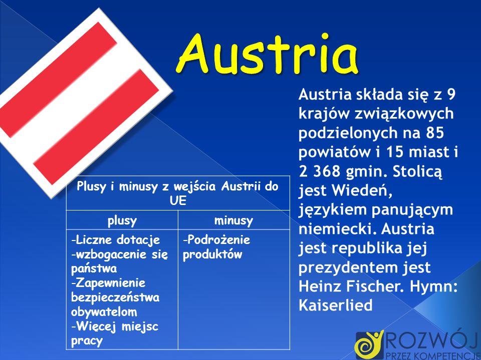 Austria składa się z 9 krajów związkowych podzielonych na 85 powiatów i 15 miast i 2 368 gmin. Stolicą jest Wiedeń, językiem panującym niemiecki. Aust