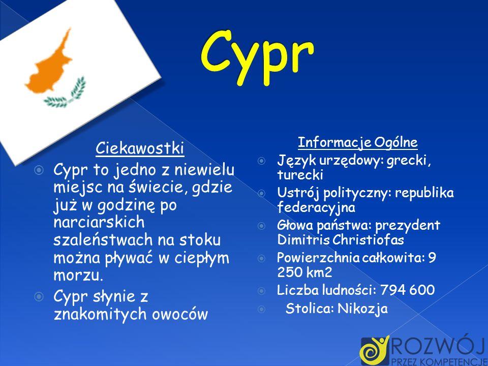 Ciekawostki Cypr to jedno z niewielu miejsc na świecie, gdzie już w godzinę po narciarskich szaleństwach na stoku można pływać w ciepłym morzu. Cypr s
