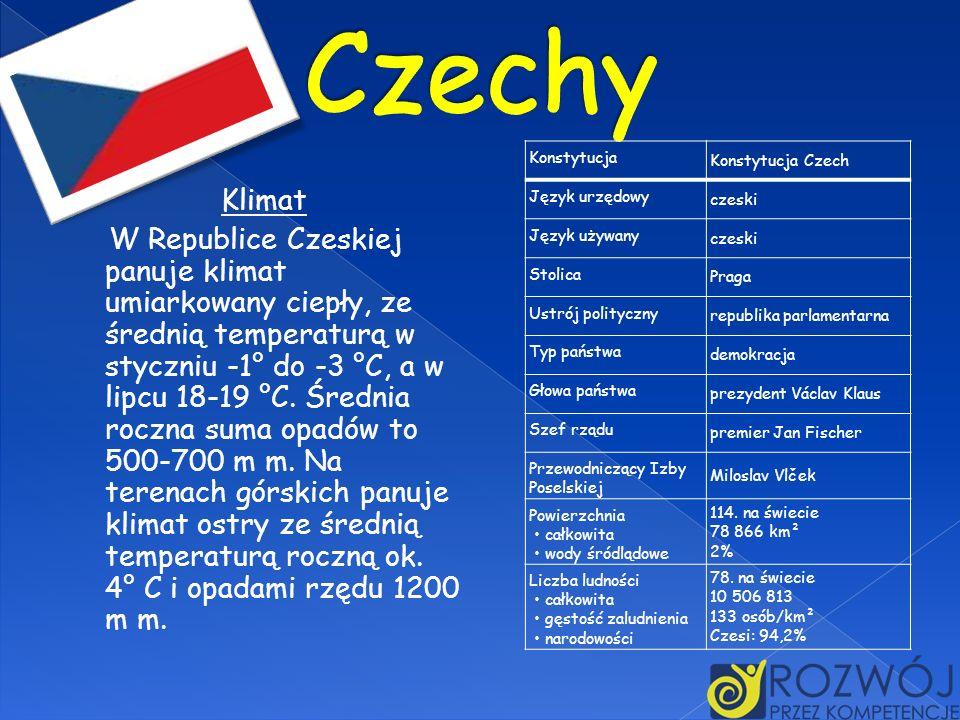 Klimat W Republice Czeskiej panuje klimat umiarkowany ciepły, ze średnią temperaturą w styczniu -1° do -3 °C, a w lipcu 18-19 °C. Średnia roczna suma