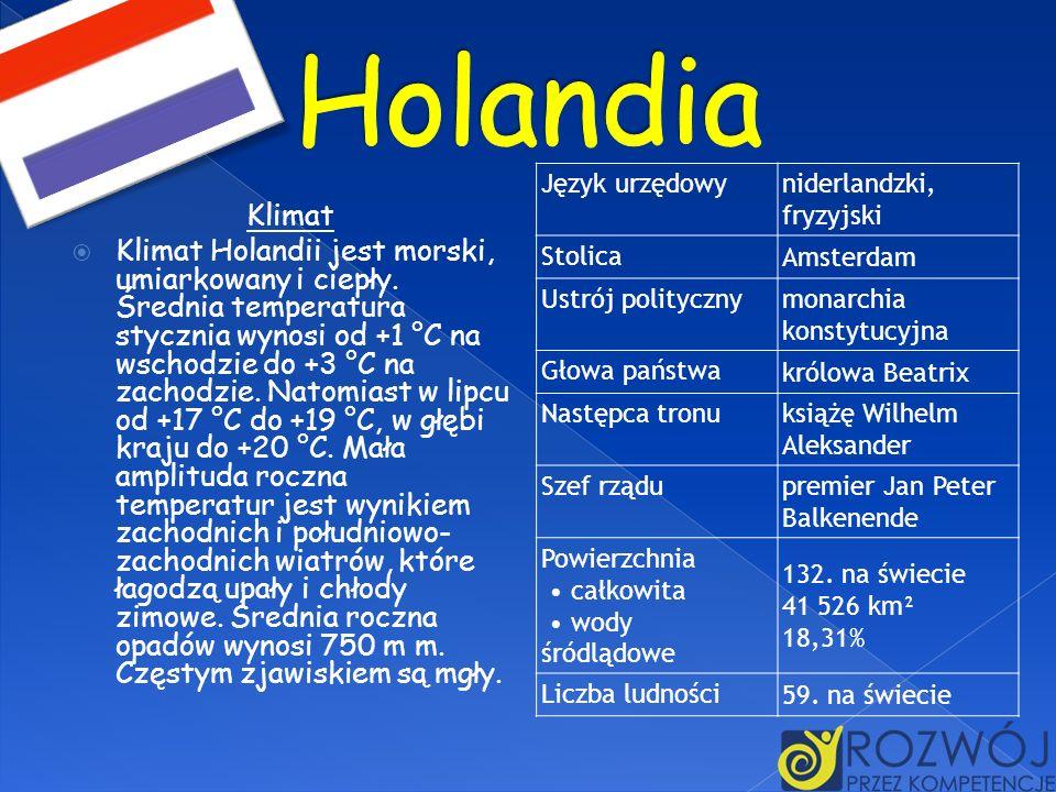 Klimat Klimat Holandii jest morski, umiarkowany i ciepły. Średnia temperatura stycznia wynosi od +1 °C na wschodzie do +3 °C na zachodzie. Natomiast w