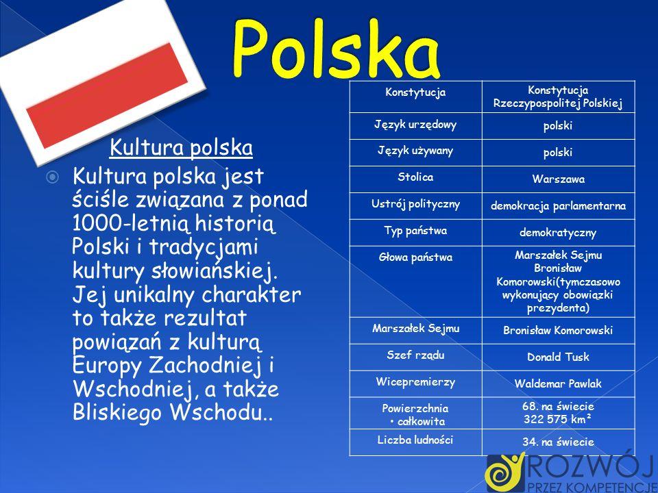 KonstytucjaKonstytucja Rzeczypospolitej Polskiej Język urzędowy polski Język używany polski Stolica Warszawa Ustrój polityczny demokracja parlamentarn