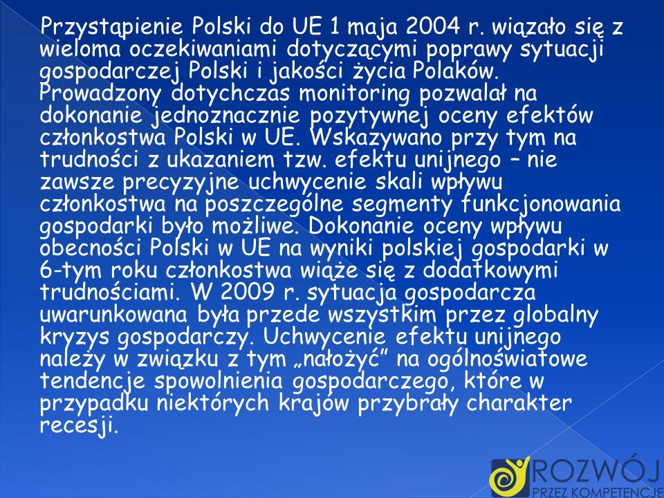 Przystąpienie Polski do UE 1 maja 2004 r. wiązało się z wieloma oczekiwaniami dotyczącymi poprawy sytuacji gospodarczej Polski i jakości życia Polaków