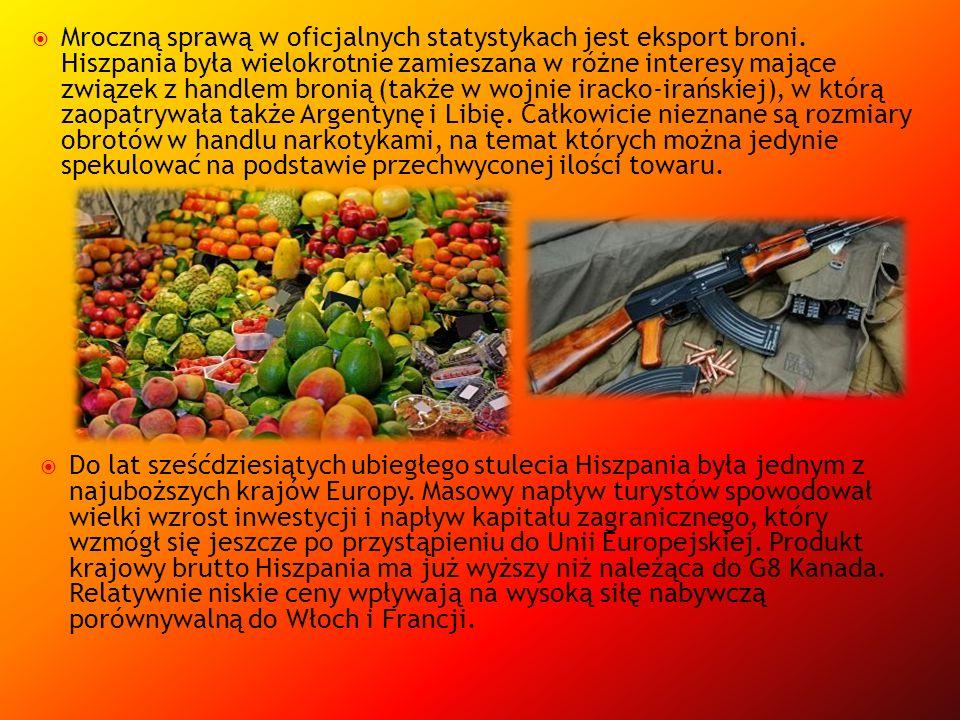 Mroczną sprawą w oficjalnych statystykach jest eksport broni. Hiszpania była wielokrotnie zamieszana w różne interesy mające związek z handlem bronią