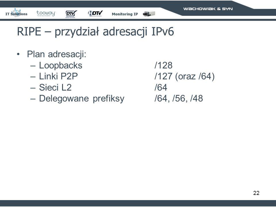 22 RIPE – przydział adresacji IPv6 Plan adresacji: –Loopbacks/128 –Linki P2P/127 (oraz /64) –Sieci L2/64 –Delegowane prefiksy/64, /56, /48