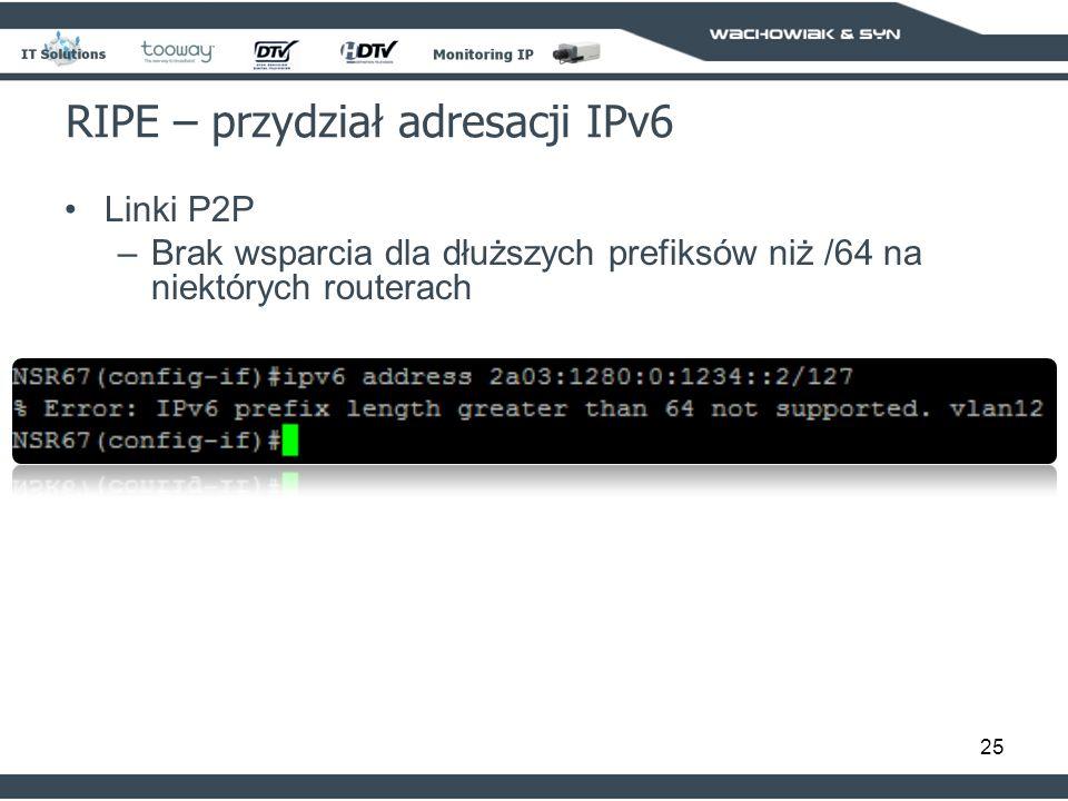 25 RIPE – przydział adresacji IPv6 Linki P2P –Brak wsparcia dla dłuższych prefiksów niż /64 na niektórych routerach