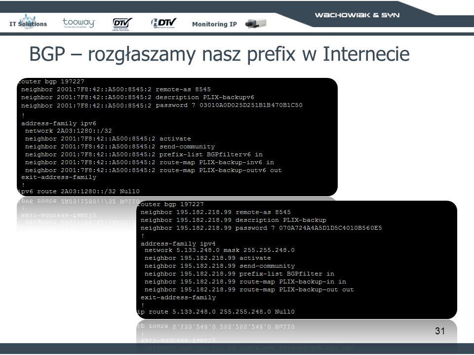 31 BGP – rozgłaszamy nasz prefix w Internecie